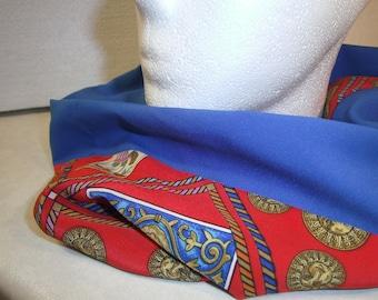 red blue Silk Scarf - Gift for her - handmade Loop - Polyesterloop