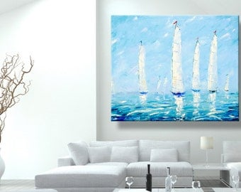 "oil painting, modern art, ""Sea regatta"", canvas art, paintings on canvas, wall art, painting, abstract painting, canvas art, canvas painting"