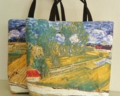 Printed tote bags ,Van Gogh painting copy, beach totes, handmade handbags, casual chic bag made in France.