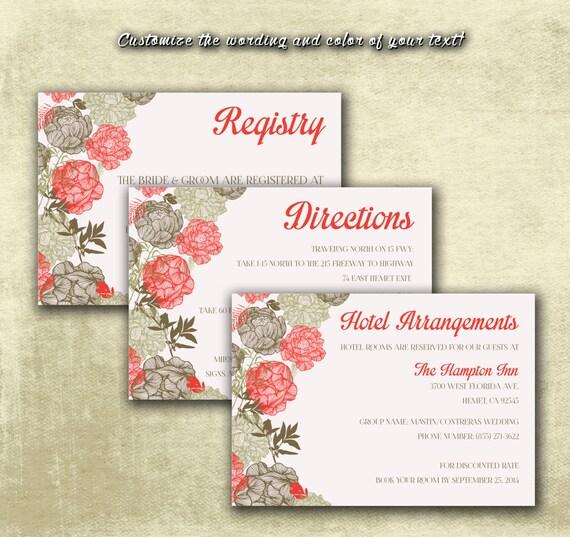 DIY Printable Wedding Enclosure Cards Vintage Brown Floral