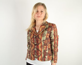 Vintage Brown Jacket Tapestry Jacket Embroidered Cotton Middle Eastern Style Ornaments Long Sleeve Jacket