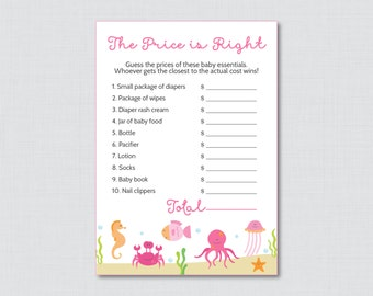 Under the Sea Baby Shower Price is Right Game - Printable Under the Sea Baby Shower Game Instant Download - Pink Price is Right - 0020-P