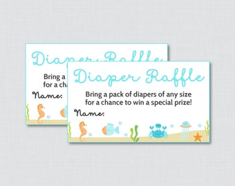Under the Sea Baby Shower Diaper Raffle Tickets and Diaper Raffle Sign in Blue - Printable Diaper Raffle Cards and Sign - 0020-B