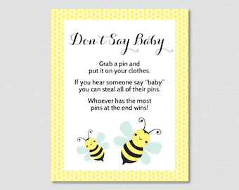 Bumble Bee Dont Say Baby Shower Game Printable Diaper Pin Clothes