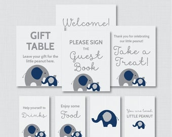 Printable Elephant Baby Shower Table Signs - EIGHT Signs! Welcome Sign, Favors Sign, etc - Instant Download - Navy and Gray Signs 0024-N