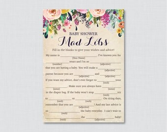 Woodland baby shower mad libs printable baby shower advice floral baby shower mad libs printable baby shower advice cards mad libs game instant pronofoot35fo Image collections