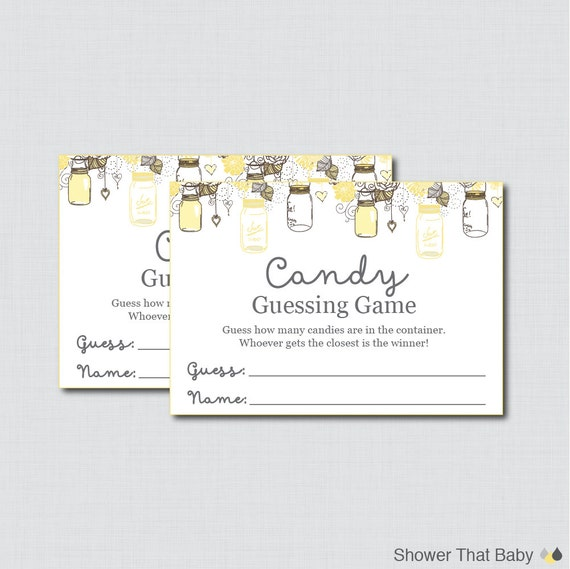 yellow mason jar baby shower candy guessing game printable guess how