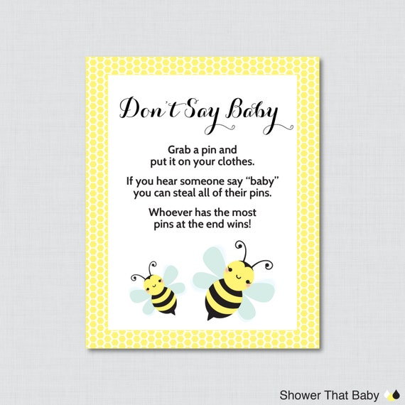 Bumble Bee Dont Say Baby Shower Game Printable Diaper Pin Clothes Yellow