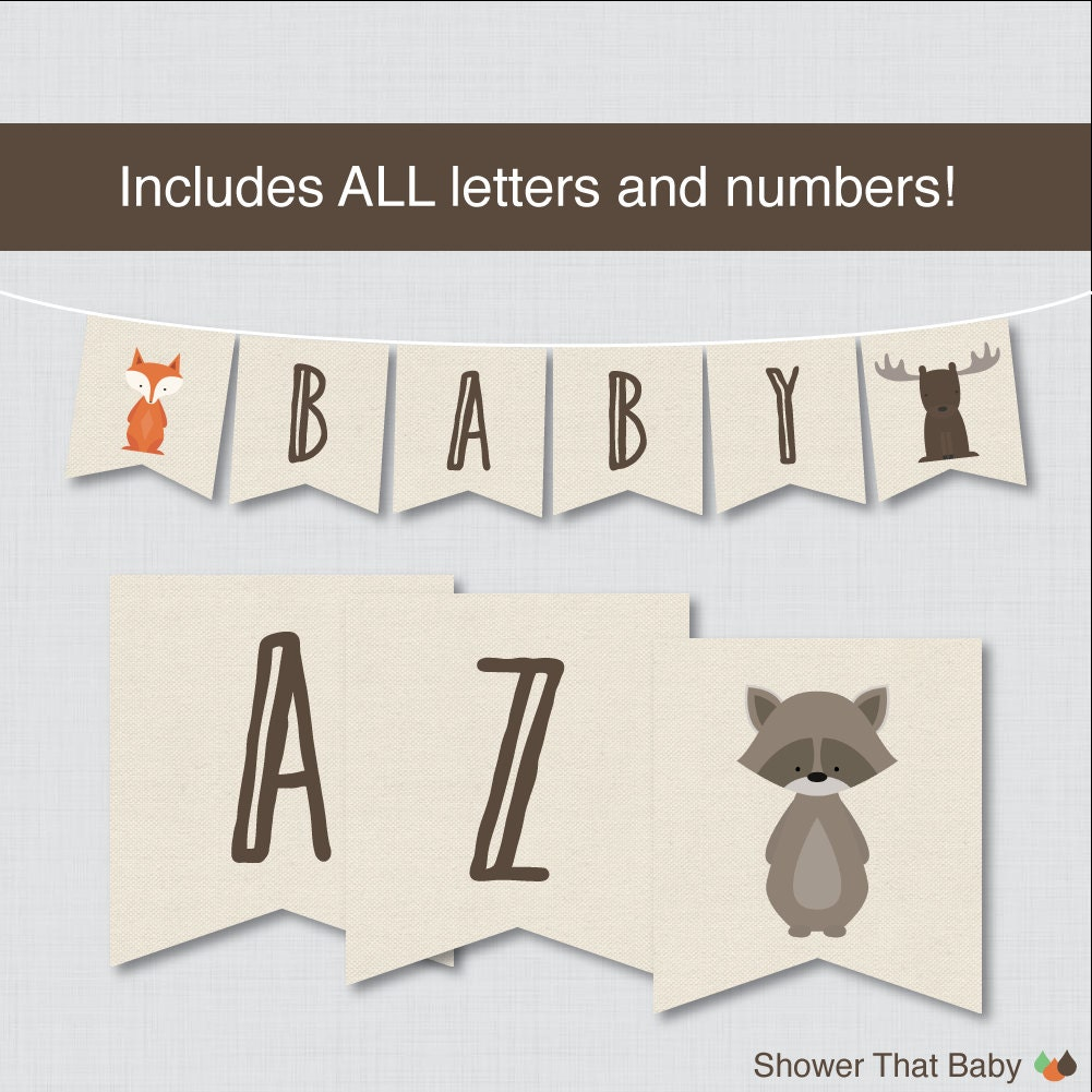 baby shower letters woodland flag banner with all letters printable instant 20541 | il fullxfull.697622845 1496