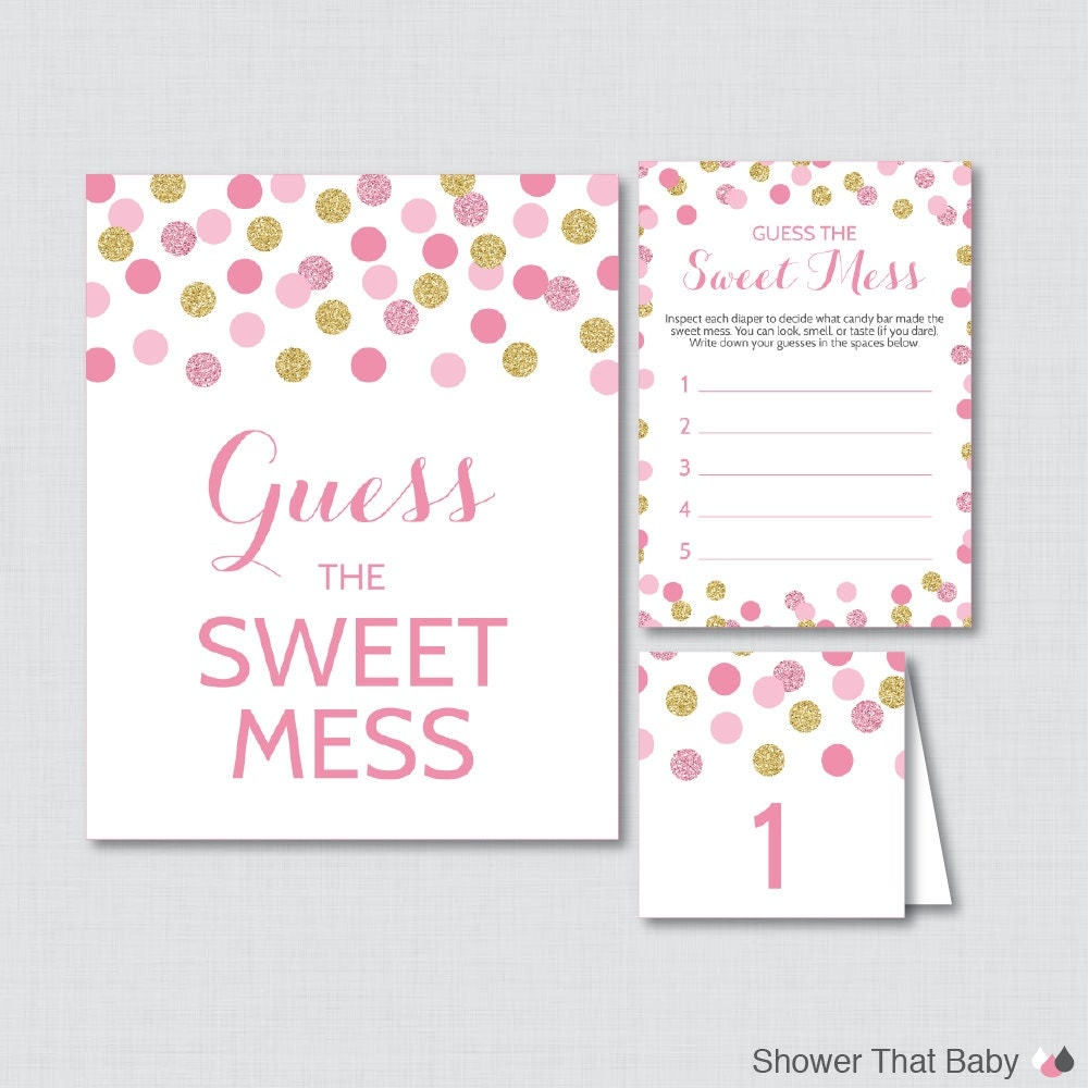 Sweet Sweet Baby Baby Shower Game: Pink And Gold Baby Shower Diaper Candy Bar Game Printable