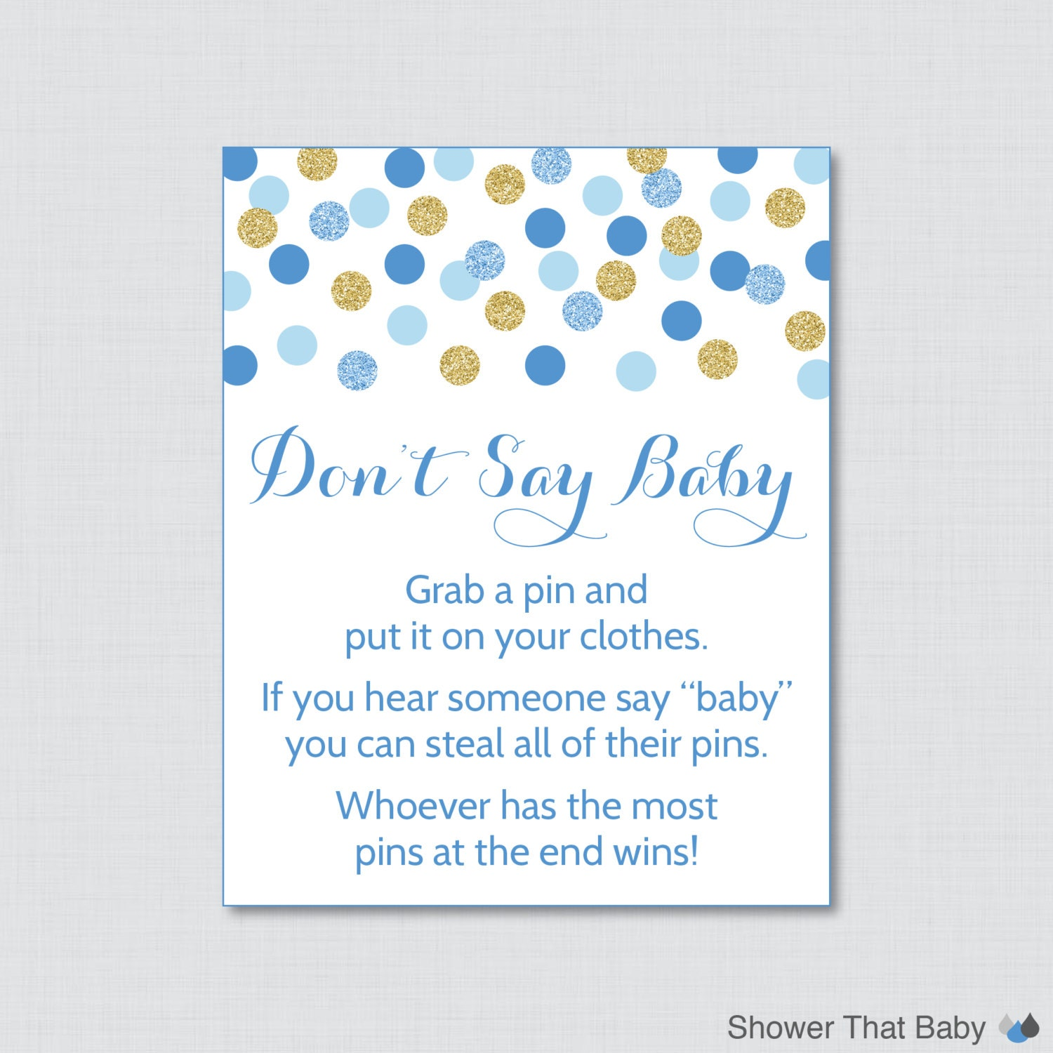 Don T Say Baby Baby Shower Game Printable Blue And Gold