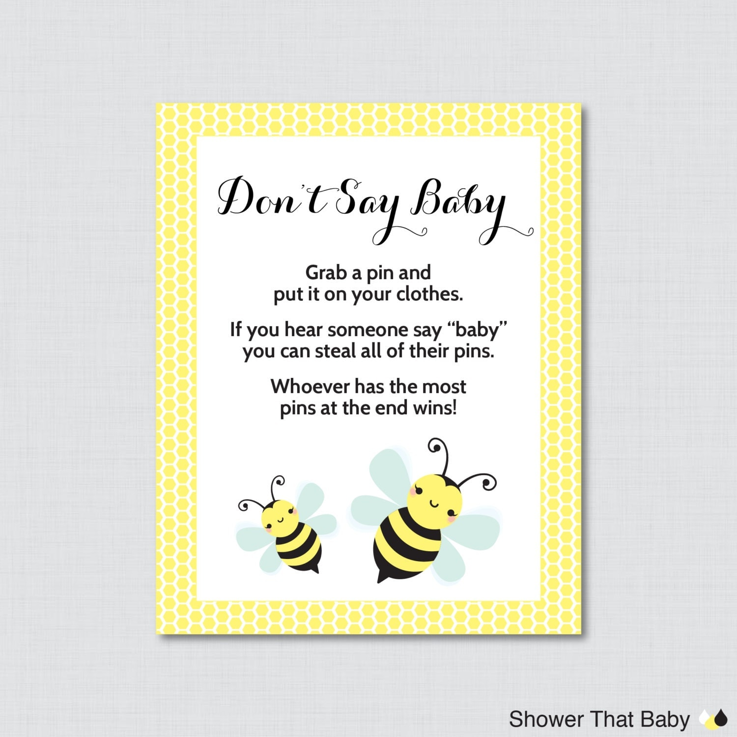 Bumble Bee Don t Say Baby Baby Shower Game Printable