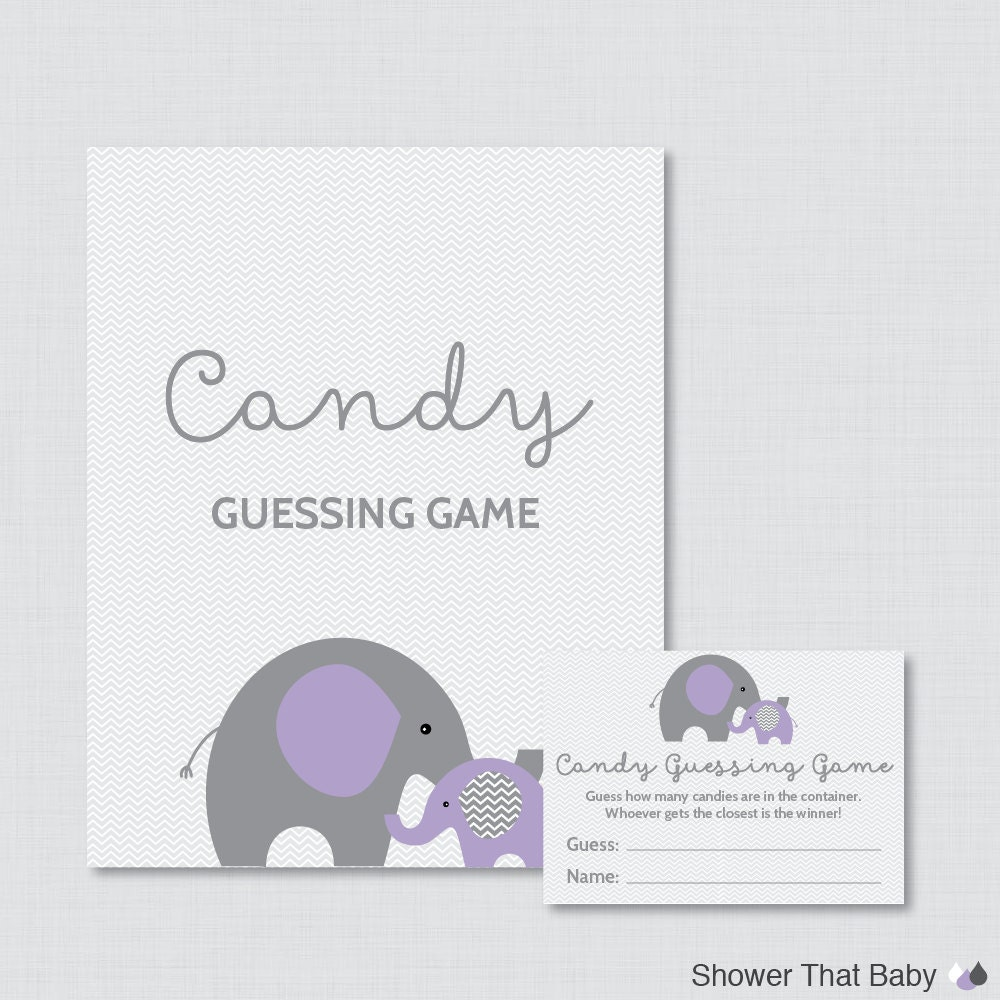 elephant baby shower candy guessing game printable guess how