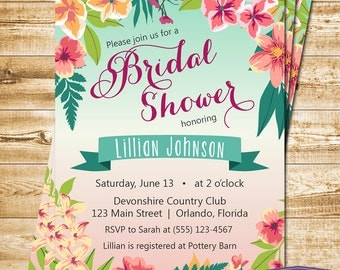 Tropical Bridal Shower Invitation - Island Flowers Hawaiian Luau Bridal Shower Invite - Wedding Shower - Engagement Party -1379 PRINTABLE