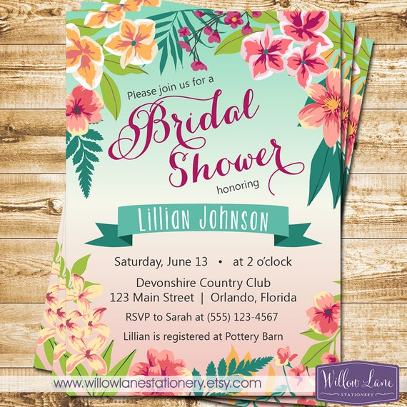 Rhode Island Wedding Invitation Printed: Tropical Bridal Shower Invitation Island Flowers Hawaiian