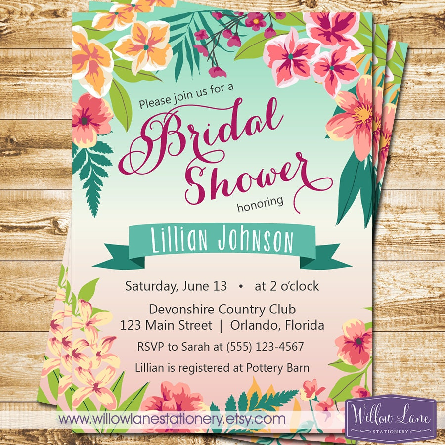Tropical Bridal Shower Invitation - Island Flowers Hawaiian Luau ...