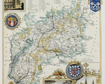 Vintage Map, Gloucestershire, Thomas Moule County Map of Old England.