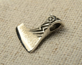 War Axe of Perun sterling silver, small pendant - 13x16 mm, 3.8 grams