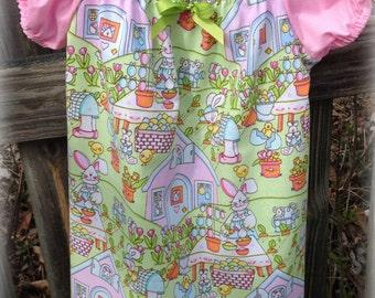 Happy Bunnies Peasant Dress Size 2T/3T