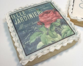 Edible wafer paper vintage Garden Rose cookie toppers.