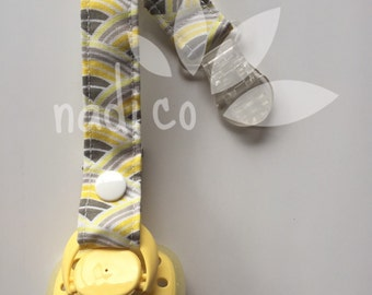 Grey & Yellow Rainbow Pacifier Clip