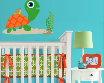 Turtle & Snail with Sun Vinyl Wall Decal - Nursery or Children's Room Wall Sticker