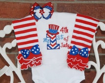 Baby Girl My 1st 4th of July Outfit! Baby Girl 4th of July Outfit/4th of July Leg Warmers/Baby Girl 4th of July Outfit/First 4th of July