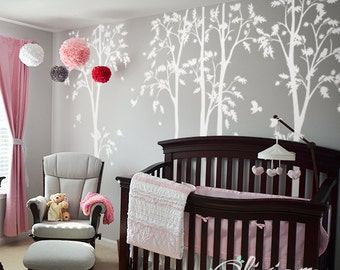 White tree decal Large Tree wall decal Wall Art Tattoo Wall Mural Stickers Wall Decals Decor - NT010
