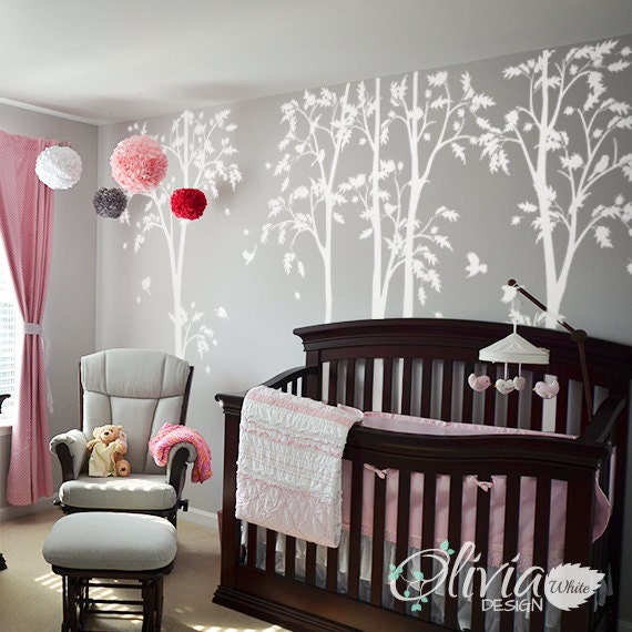 White tree decal Large Tree wall decal Wall Art Tattoo Wall