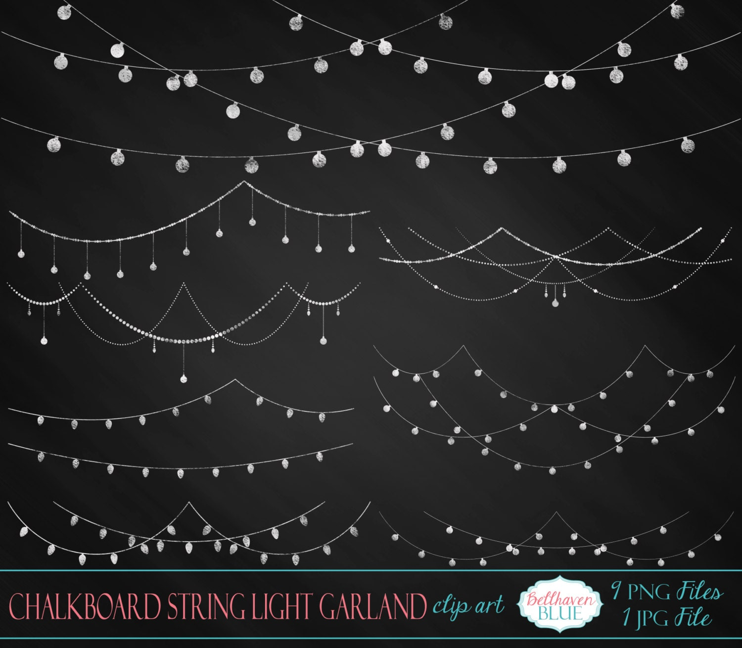 String Lights Clipart No Background Free : Chalkboard String Light Garland Clipart by BellhavenBlue on Etsy