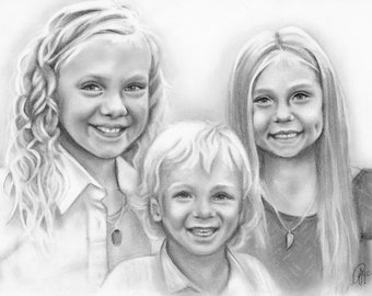 "Custom Pencil Portrait -  Three Subjects 12x16"", Realism Portrait Art, From Your Photo, Pencil Drawing, Pencil Sketch Portrait, Personalized"
