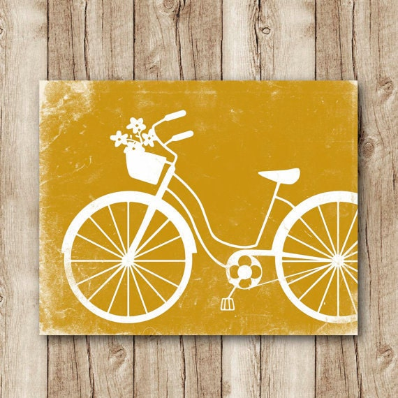 Bicycle Art Download Bicycle Poster Mustard Yellow Wall Decor