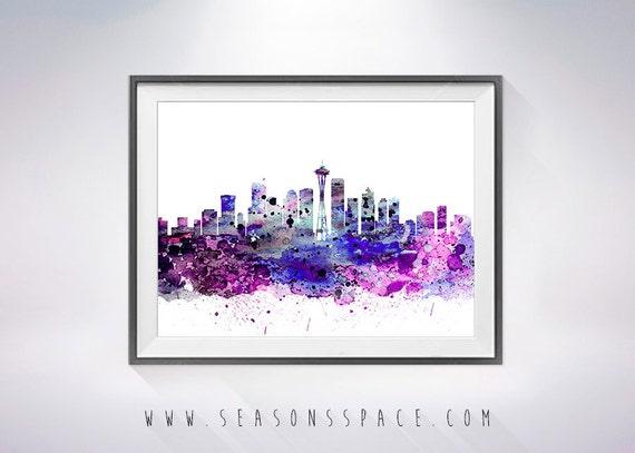 seattle skyline print seattle poster seattle art usa. Black Bedroom Furniture Sets. Home Design Ideas