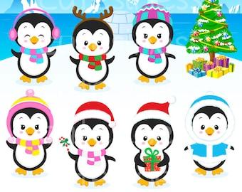 Penguin Clipart,  Penguin clip art, Baby Penguin clipart, Eskimo Clipart, winter clipart