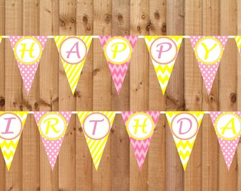 Pink Lemonade2 Happy Birthday Banner- INSTANT DOWNLOAD - Printable Party Decorations