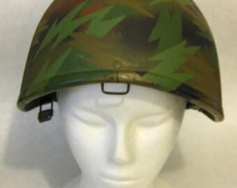 USED VINTAGE - Surplus Israeli Military Helmet, Repainted Custom Camo Design, Adjustable Size