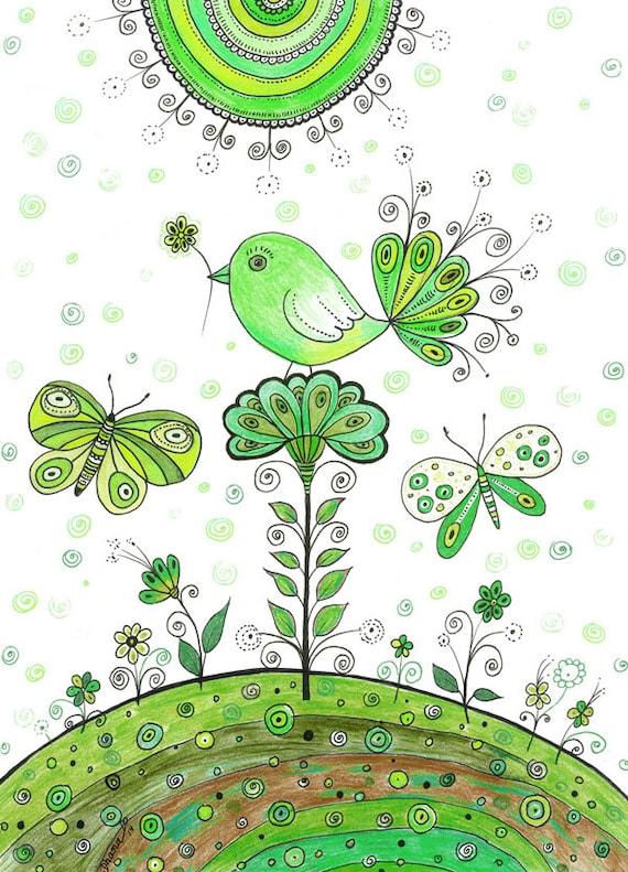 Vert d coration murale oiseau dessin fleurs par dhanadesign for Decoration murale oiseau 3d