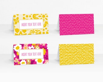 Floral Bohemian Tent Cards with editable text – 2 color options – Printable Tent Cards by Squawk Box Studio