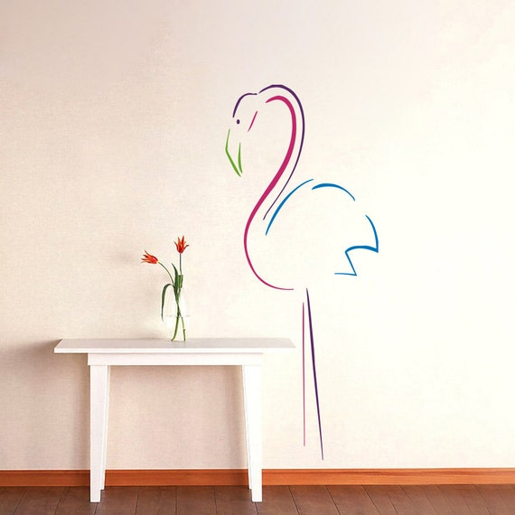 wall decals colored flamingo decal vinyl sticker by cozydecal. Black Bedroom Furniture Sets. Home Design Ideas