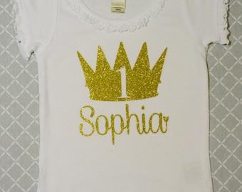 Princess Girls Birthday Shirt:  Ruffle Shirt / Gold Glitter