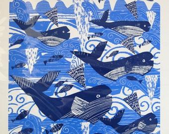Whales. Original Screenprint