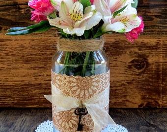 Recycled Valentines Key to my heart Glass Mason Jar Decor