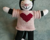 HANDKNIT CAT in sweater with red heart