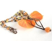 Delicate Copper Leaf Necklace with Orange Olive Gold Natural Stones, Leaf Necklace, Red Aventurine Stones, Wire Work, Woodland Style