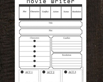 Movie/Script Writer Worksheet Editable Instant Download PDF 8 1/2 x11
