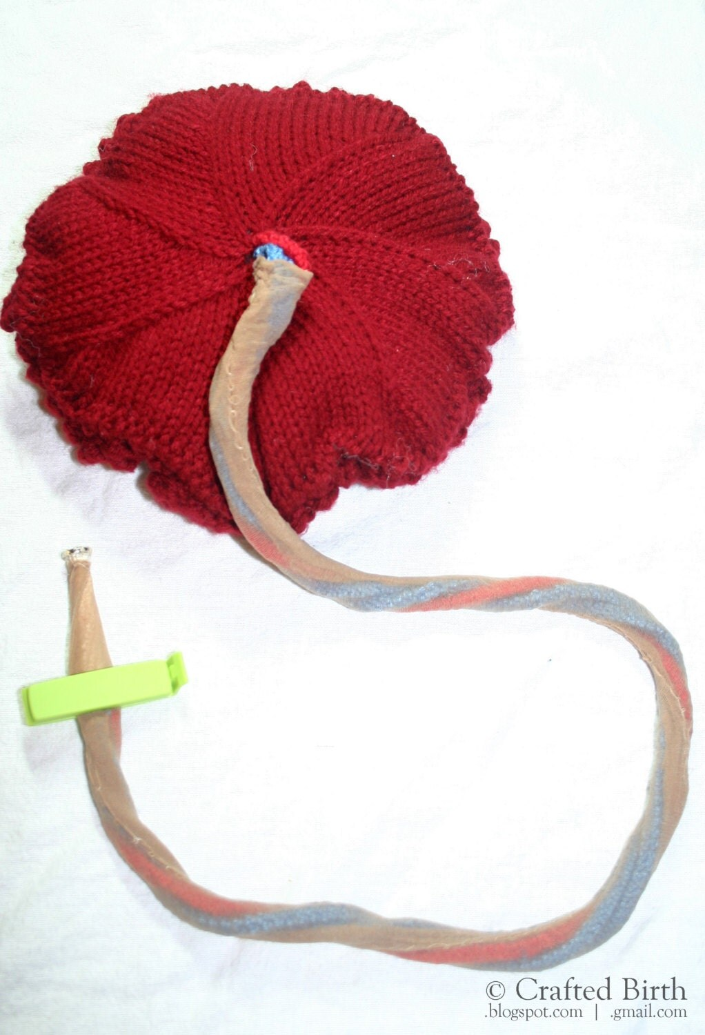 Knitting Pattern Umbilical Cord Hat : Pattern: Knitted Placenta and Umbilical Cord Hand-Made