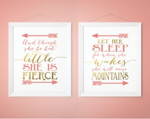 Coral and Gold Nursery Prints, Shakespeare Quotes, And though she be but little she is fierce, Let her sleep she wakes move mountains,
