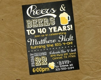 Cheers & Beers Adult Birthday Party Invitation - Any Age - 30 40 50 60