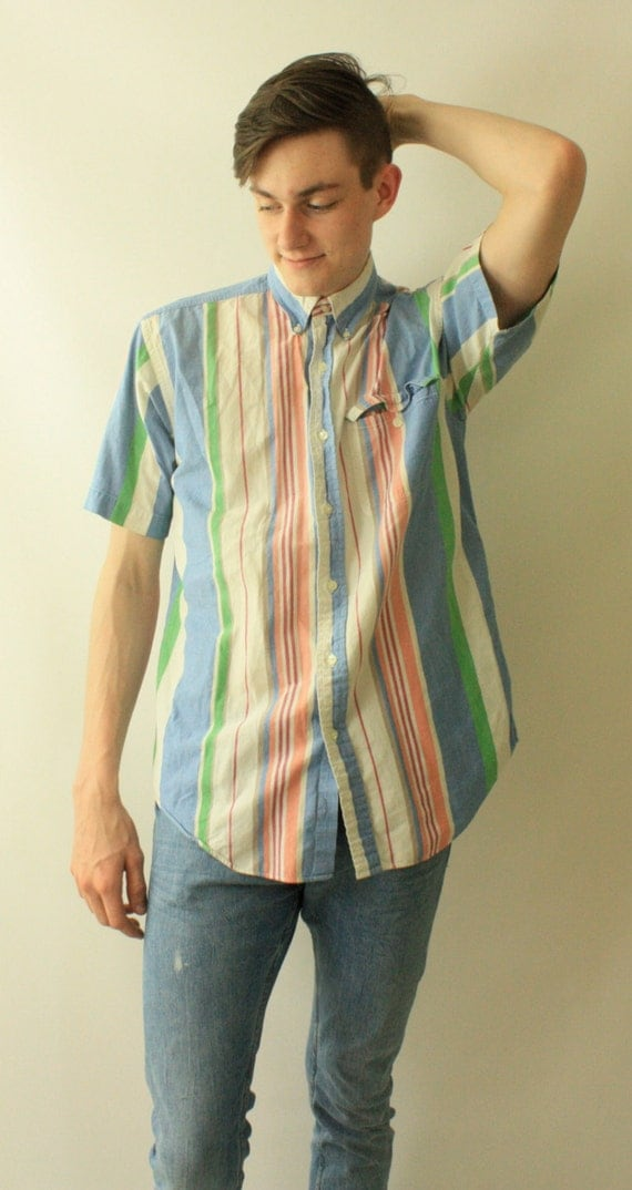 Vintage Men's Nautical Hipster 90's Striped Button Up