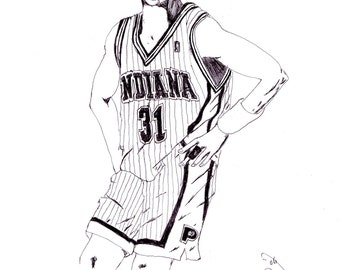 "NBA Drawing 31 Reggie Miller Indiana Pacers Basketball Player Art Pen Drawing ""Knick Killer"" A Five-time All-Star Selection"